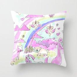 unicorn party rainbow Throw Pillow