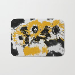 Sunflowers in vase Bath Mat