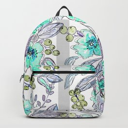 Floral watercolor pattern . Backpack