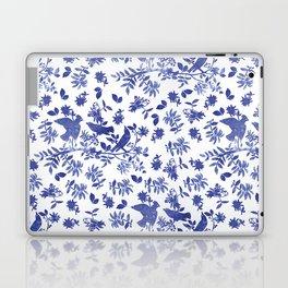 Pattern with blue watercolor birds Laptop & iPad Skin