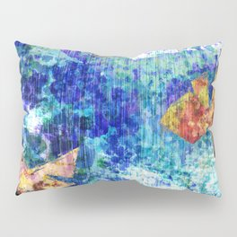Abstract Structure, Blue, Gold, Pink, Peach, Teal  Pillow Sham