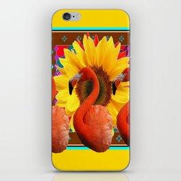 YELLOW BROWN SUNFLOWERS ART DECO 3 SAFFRON FLAMINGOS ART iPhone Skin