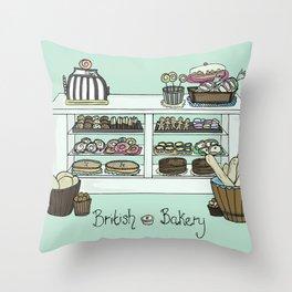 British Bakery Throw Pillow