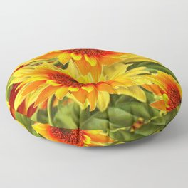 GOLDEN YELLOW KANSAS SUNFLOWERS RED ART Floor Pillow