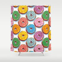 donuts Shower Curtains featuring Donuts by Helene Michau