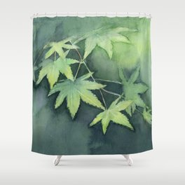 Japanese Maple Watercolor Green Leaves Shower Curtain