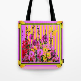 YELLOW BUTTERFLIES  PINK FLORAL GARDEN  ABSTRACT Tote Bag