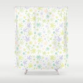 Cute Pastel Cannabis Pattern Shower Curtain