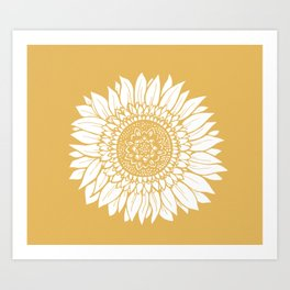 Yellow Sunflower Drawing Kunstdrucke