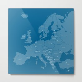 Europe map - blue Metal Print