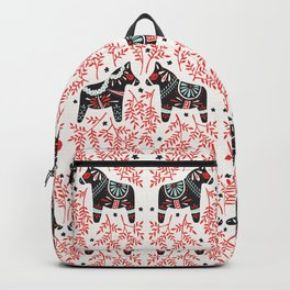 Swedish Dala Horses – Red and Black Palette Backpack