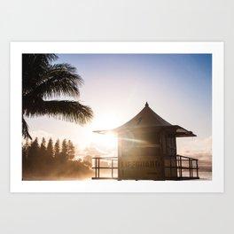 Sunset at the lifeguard tower Art Print