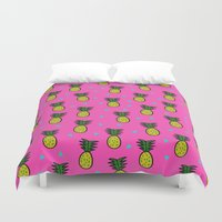 pineapples Duvet Covers featuring Pineapples by Sandra Arduini