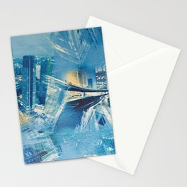 Abstract blue modern city Stationery Cards