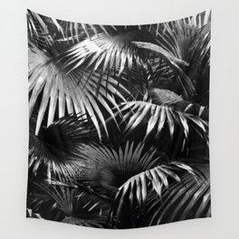 Tropical Botanic Jungle Garden Palm Leaf Black White Wall Tapestry
