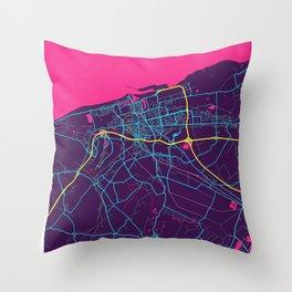 Calais Neon City Map, Calais Minimalist City Map Art Print Throw Pillow