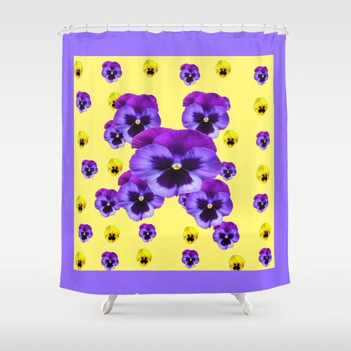 LILAC FRAMED YELLOW PURPLE PANSY GARDEN FLOWERS Shower Curtain