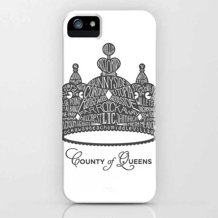 County of Queens | NYC Borough Crown (GREY) iPhone Case