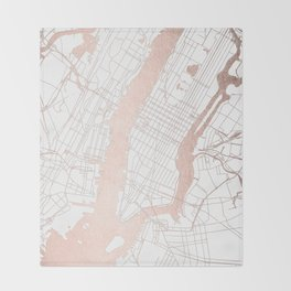 New York City White on Rosegold Street Map Throw Blanket
