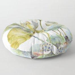 Lotus Plant and Fish Zen Design Watercolor Muted Pallet Botanical Art Floor Pillow