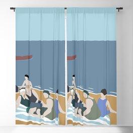 Vintage bathers Blackout Curtain