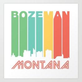 Retro 1970's Style Bozeman Montana Skyline T-Shirt Art Print