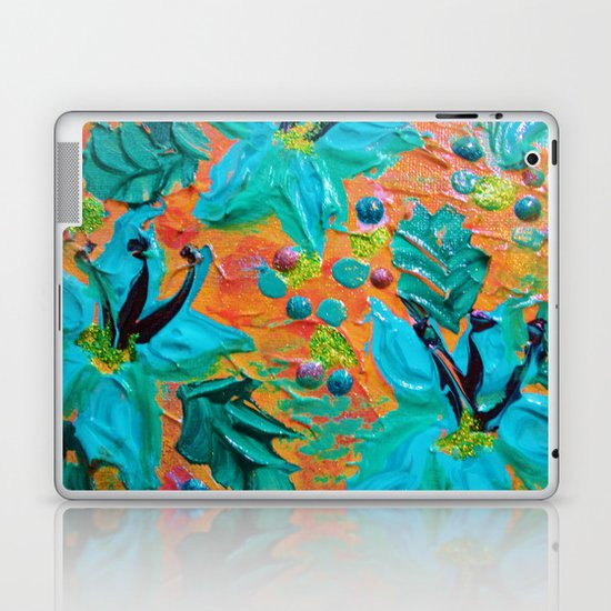 BLOOMING BEAUTIFUL 2 - Modern Abstract Acrylic Tropical Floral Painting, Home Decor Gift for Her Laptop & iPad Skin
