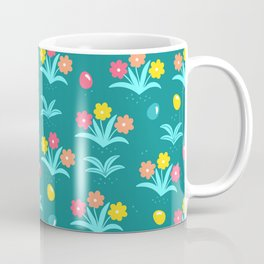 Easter Flower Pattern With Tiny Easter Eggs Coffee Mug