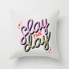 Slay the Day – Coral & Pink Throw Pillow