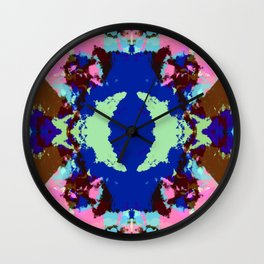 Abstract Pink & Funky Ink Blot Rorschach Butterfly Wall Clock