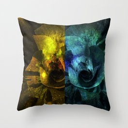 Deux Roses - Sparkling blue and yellow Rose Throw Pillow