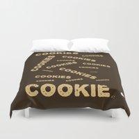 cookies Duvet Covers featuring COOKIES! by Lindsay Spillsbury
