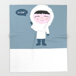 Cute little Eskimo Throw Blanket