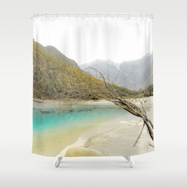 Blue Moon Lake, Yunnan. Shower Curtain