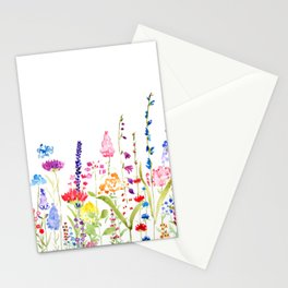 colorful wildflower fields watercolor Stationery Cards
