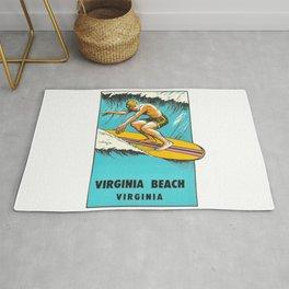 Virginia Beach Retro Vintage Surfer Rug