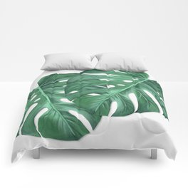 Monstera Tropical Leaf Painting Comforters