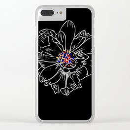 White stroke flower rainbow anthers Clear iPhone Case
