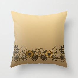 Kitschy Flower Medley Sepia Throw Pillow