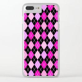 Pink Lavender Black Argyle Clear iPhone Case