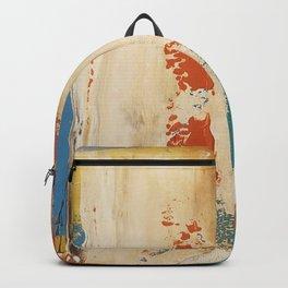 Rustic Orange Teal Abstract Backpack