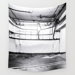 underground parking lot with tube in black and white Wall Tapestry