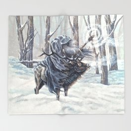 Wizard Riding an Elk in the Snow Throw Blanket