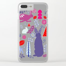Modern Forest Florals with Rabbits Clear iPhone Case