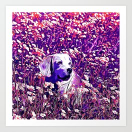 beagle dog flower field vector art purple Art Print