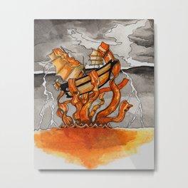 Bacon Kraken Metal Print