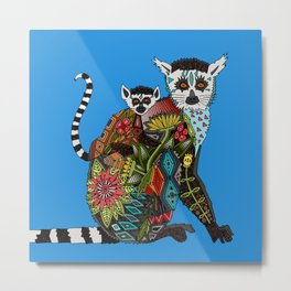 ring tailed lemur love blue Metal Print