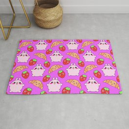 Cute happy funny pink baby bunnies, sweet adorable yummy Kawaii croissants and red ripe summer strawberries cartoon colorful pastel pattern design Rug