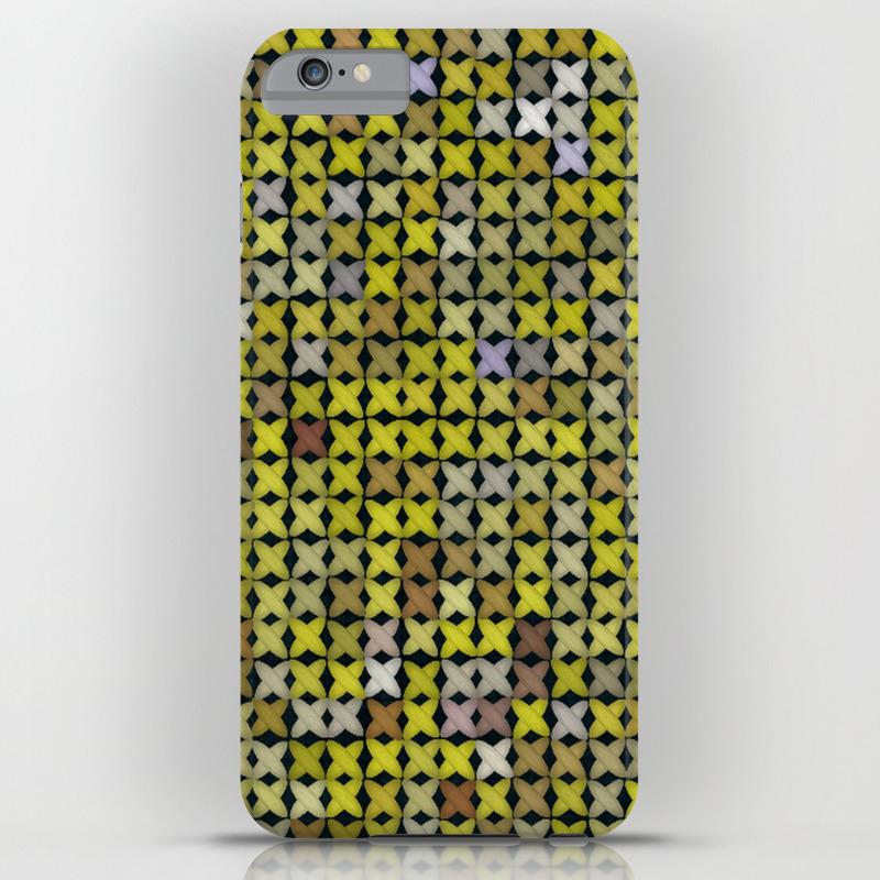 wholesale dealer e7199 24936 Yellow Cross Stitch iPhone Case
