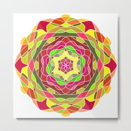 Flower Mandala round ornament Metal Print